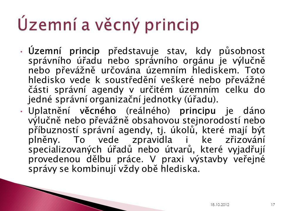 Územní princip představuje stav, kdy působnost správního úřadu nebo správního orgánu je výlučně nebo převážně určována územním hlediskem. Toto hledisk