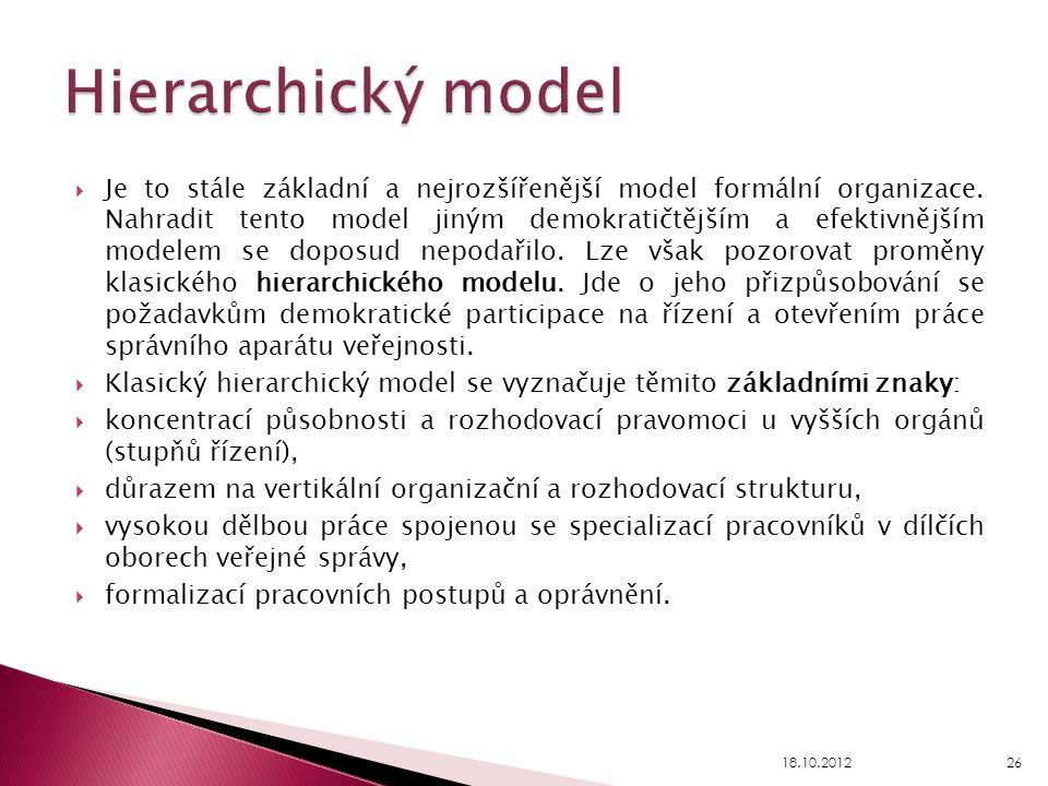  Je to stále základní a nejrozšířenější model formální organizace. Nahradit tento model jiným demokratičtějším a efektivnějším modelem se doposud nep