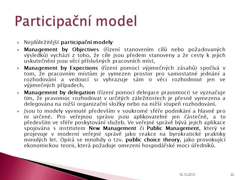  Nejdůležitější participační modely:  Management by Objectives (řízení stanovením cílů nebo požadovaných výsledků) vychází z toho, že cíle jsou před
