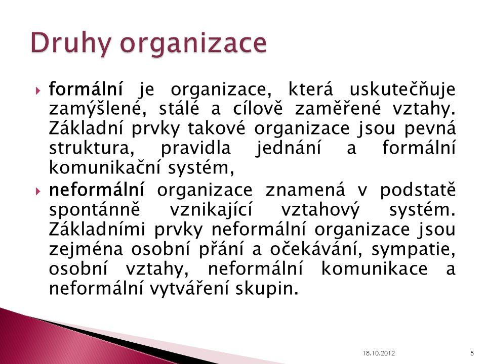  formální je organizace, která uskutečňuje zamýšlené, stálé a cílově zaměřené vztahy. Základní prvky takové organizace jsou pevná struktura, pravidla