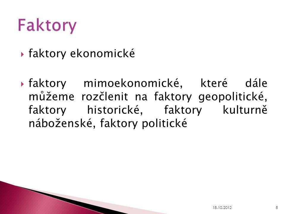  faktory ekonomické  faktory mimoekonomické, které dále můžeme rozčlenit na faktory geopolitické, faktory historické, faktory kulturně náboženské, f