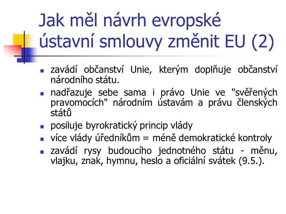 Jak měl návrh evropské ústavní smlouvy změnit EU (2) zavádí občanství Unie, kterým doplňuje občanství národního státu.