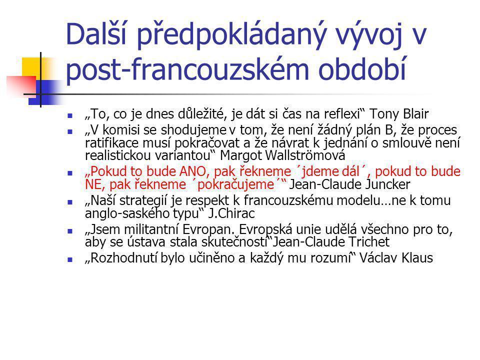 """Další předpokládaný vývoj v post-francouzském období """"To, co je dnes důležité, je dát si čas na reflexi Tony Blair """"V komisi se shodujeme v tom, že není žádný plán B, že proces ratifikace musí pokračovat a že návrat k jednání o smlouvě není realistickou variantou Margot Wallströmová """"Pokud to bude ANO, pak řekneme ´jdeme dál´, pokud to bude NE, pak řekneme ´pokračujeme´ Jean-Claude Juncker """"Naší strategií je respekt k francouzskému modelu…ne k tomu anglo-saského typu J.Chirac """"Jsem militantní Evropan."""