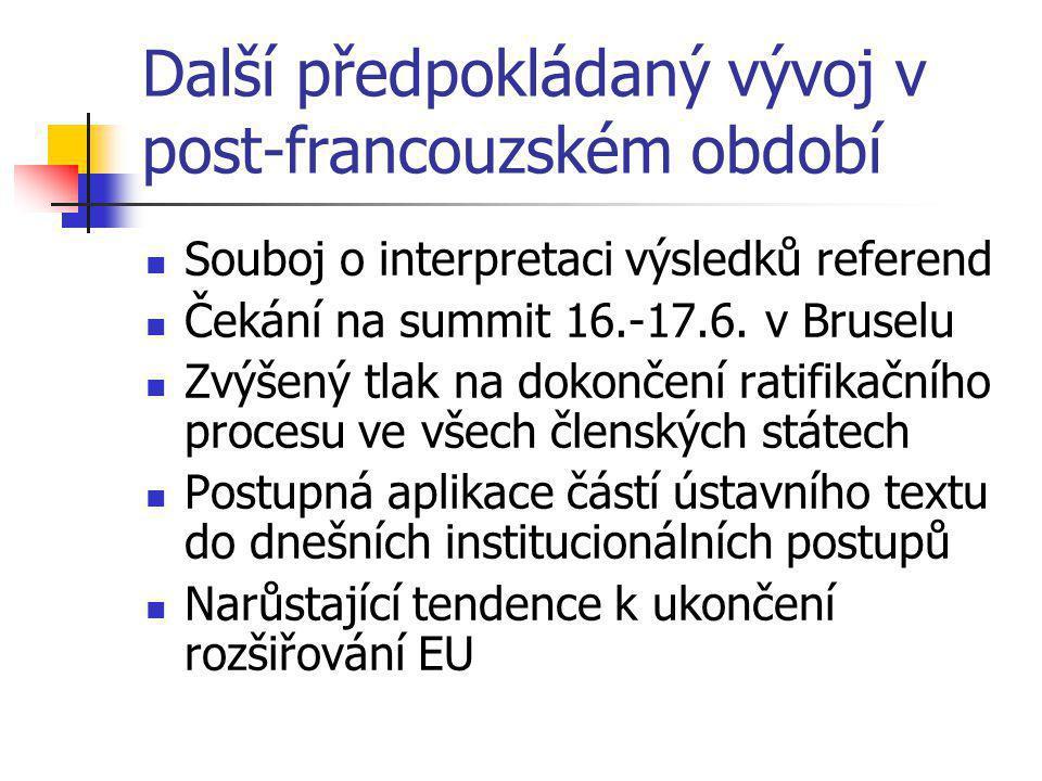 Další předpokládaný vývoj v post-francouzském období Souboj o interpretaci výsledků referend Čekání na summit 16.-17.6.