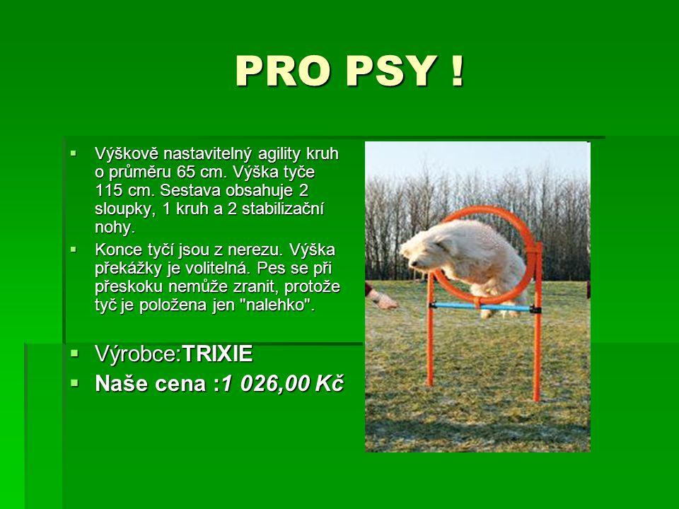 PRO PSY ! PRO PSY !  Výškově nastavitelný agility kruh o průměru 65 cm. Výška tyče 115 cm. Sestava obsahuje 2 sloupky, 1 kruh a 2 stabilizační nohy.