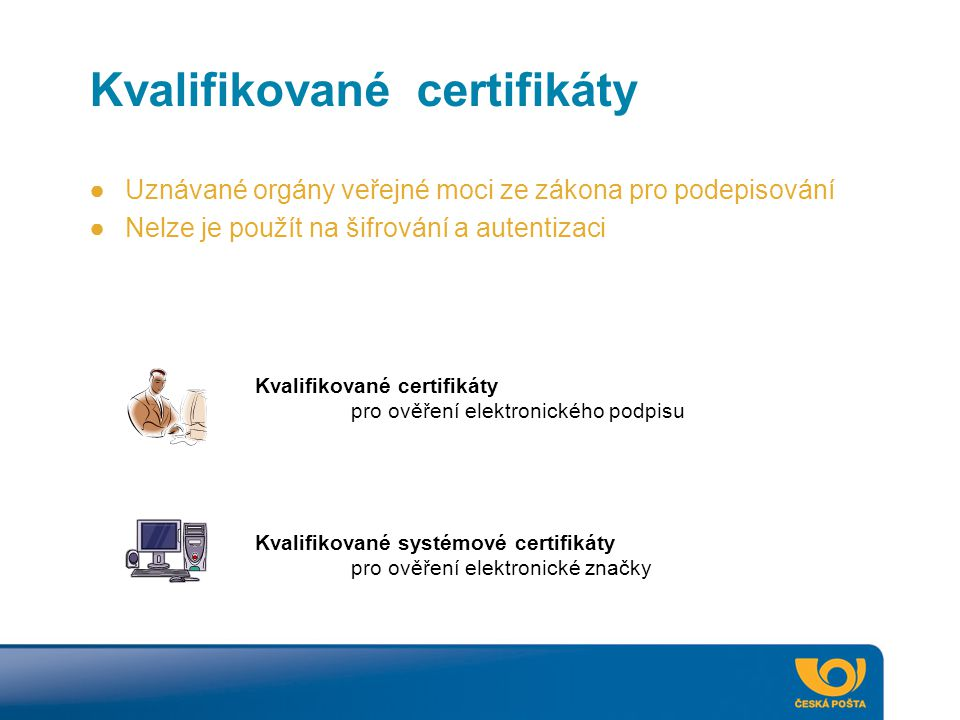Kvalifikované certifikáty pro ověření elektronického podpisu Kvalifikované systémové certifikáty pro ověření elektronické značky ●Uznávané orgány veře