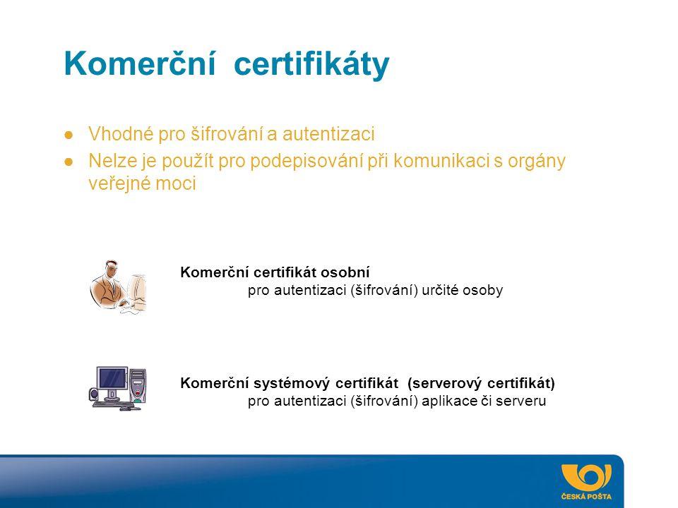 Komerční certifikáty Komerční certifikát osobní pro autentizaci (šifrování) určité osoby Komerční systémový certifikát (serverový certifikát) pro aute