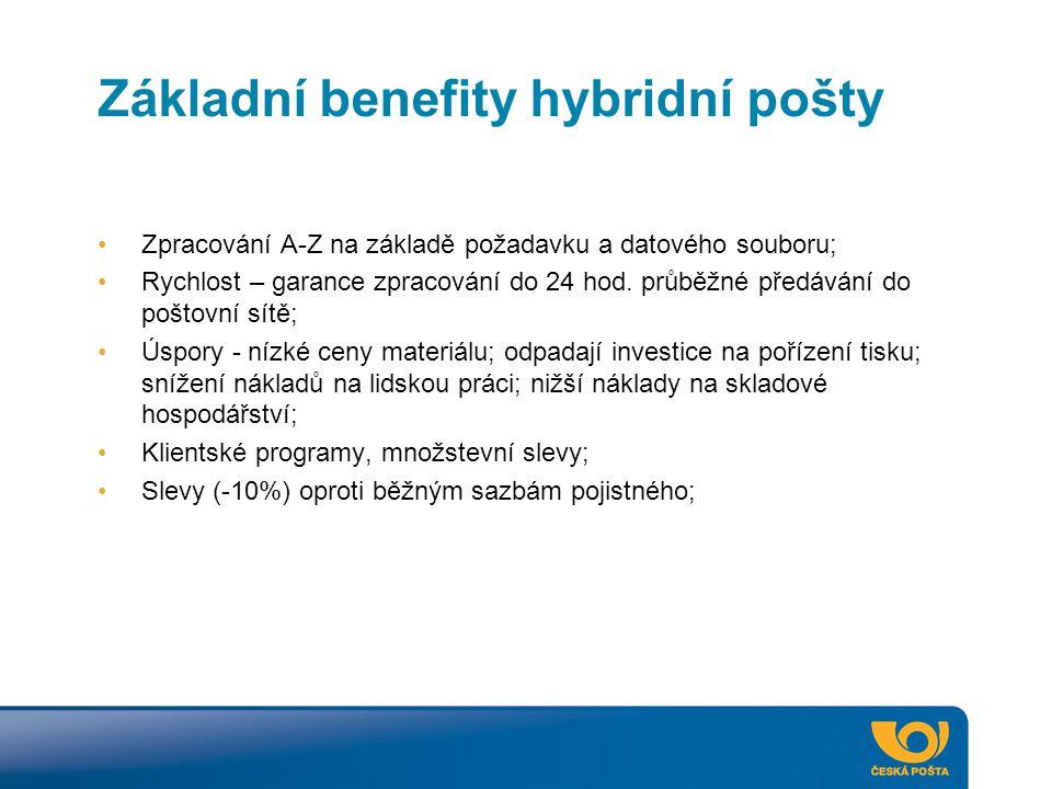 Základní benefity hybridní pošty Zpracování A-Z na základě požadavku a datového souboru; Rychlost – garance zpracování do 24 hod. průběžné předávání d