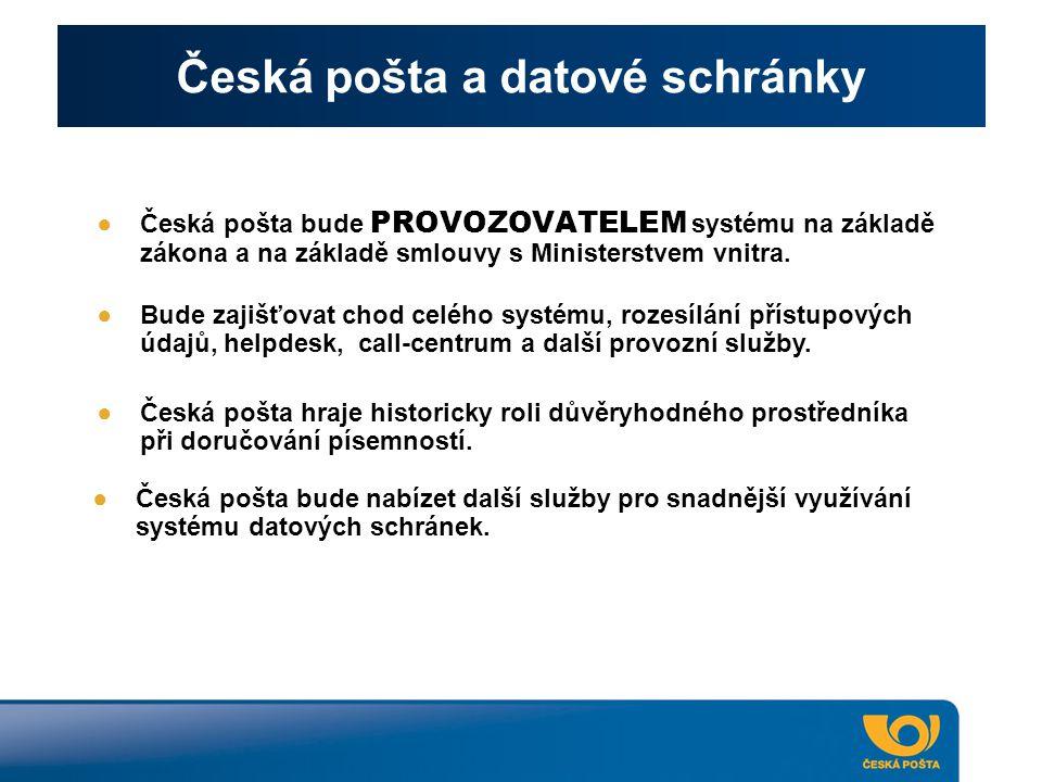 Česká pošta a datové schránky ●Česká pošta bude PROVOZOVATELEM systému na základě zákona a na základě smlouvy s Ministerstvem vnitra. ●Bude zajišťovat