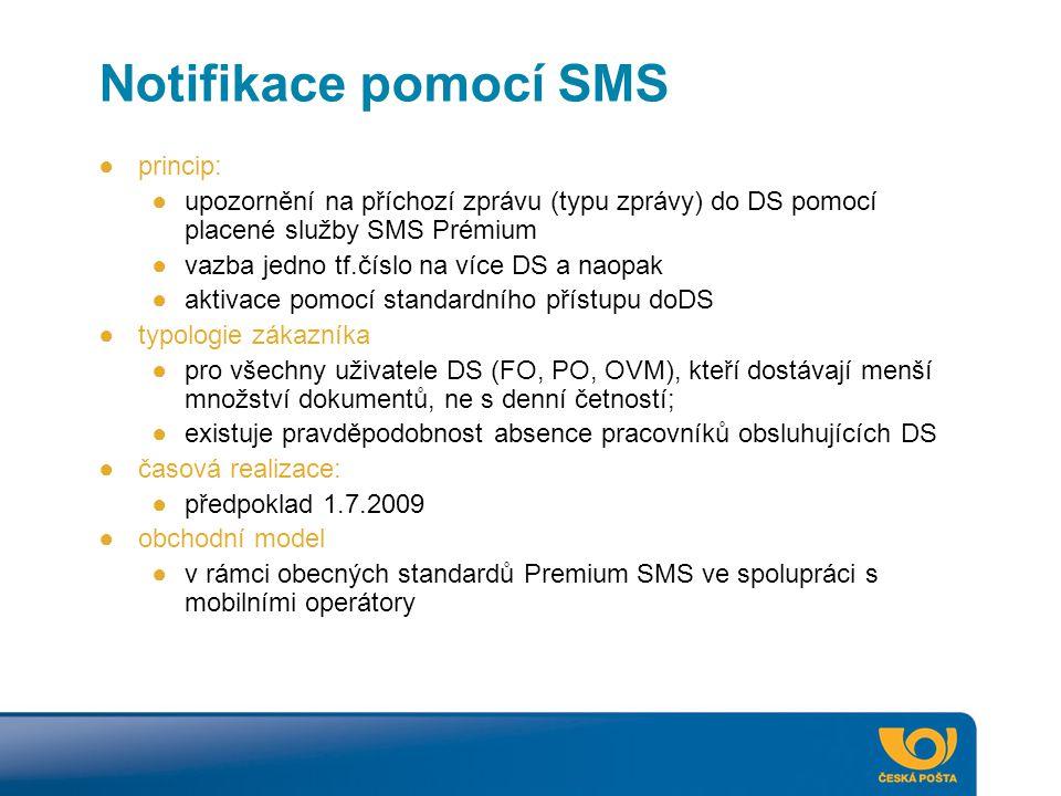 Notifikace pomocí SMS ●princip: ●upozornění na příchozí zprávu (typu zprávy) do DS pomocí placené služby SMS Prémium ●vazba jedno tf.číslo na více DS