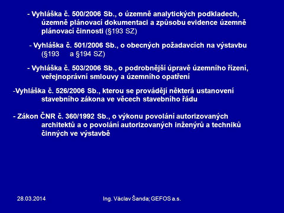 28.03.2014Ing. Václav Šanda; GEFOS a.s. - Vyhláška č. 500/2006 Sb., o územně analytických podkladech, územně plánovací dokumentaci a způsobu evidence