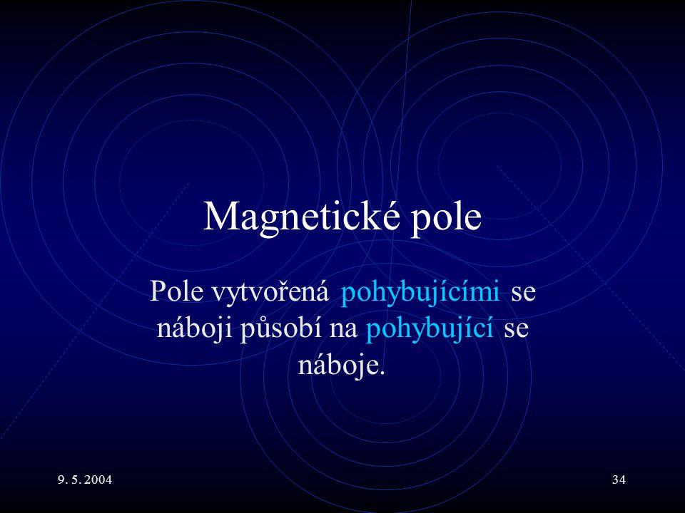 9. 5. 200434 Magnetické pole Pole vytvořená pohybujícími se náboji působí na pohybující se náboje.