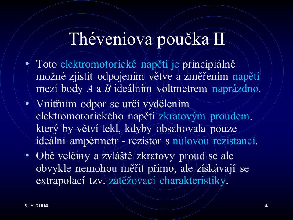 9. 5. 20044 Théveniova poučka II Toto elektromotorické napětí je principiálně možné zjistit odpojením větve a změřením napětí mezi body A a B ideálním