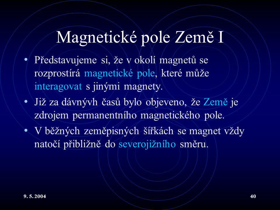 9. 5. 200440 Magnetické pole Země I Představujeme si, že v okolí magnetů se rozprostírá magnetické pole, které může interagovat s jinými magnety. Již