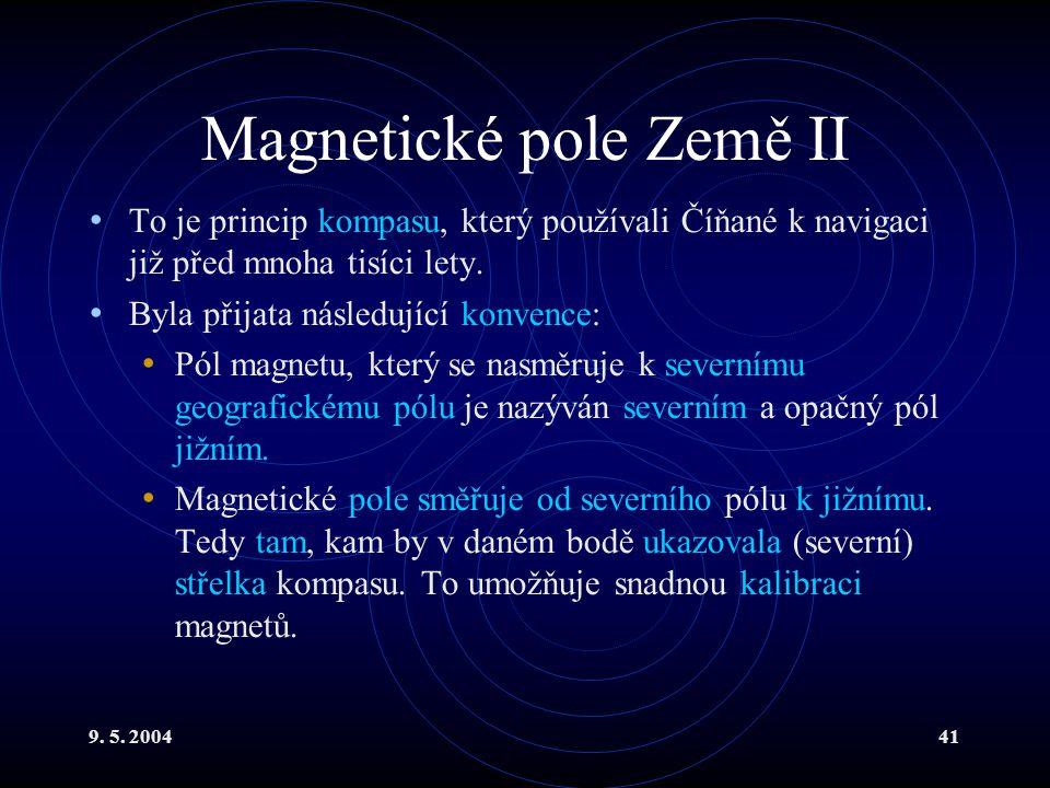 9. 5. 200441 Magnetické pole Země II To je princip kompasu, který používali Číňané k navigaci již před mnoha tisíci lety. Byla přijata následující kon