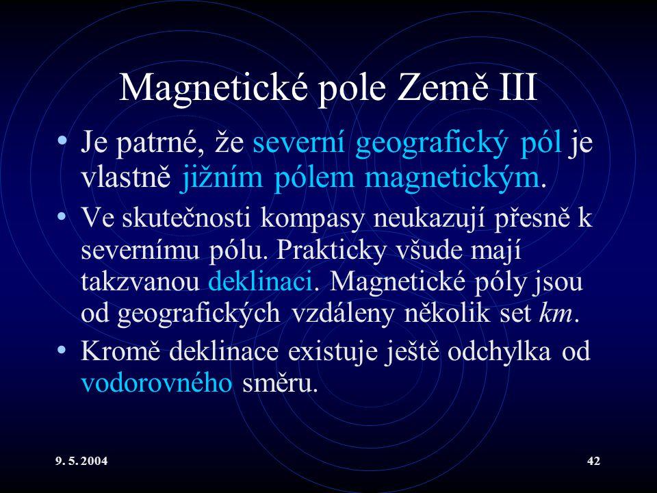 9. 5. 200442 Magnetické pole Země III Je patrné, že severní geografický pól je vlastně jižním pólem magnetickým. Ve skutečnosti kompasy neukazují přes