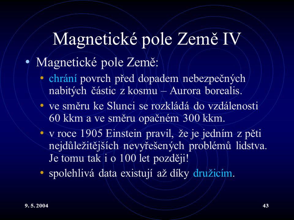 9. 5. 200443 Magnetické pole Země IV Magnetické pole Země: chrání povrch před dopadem nebezpečných nabitých částic z kosmu – Aurora borealis. ve směru
