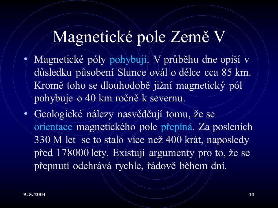 9. 5. 200444 Magnetické pole Země V Magnetické póly pohybují. V průběhu dne opíší v důsledku působení Slunce ovál o délce cca 85 km. Kromě toho se dlo