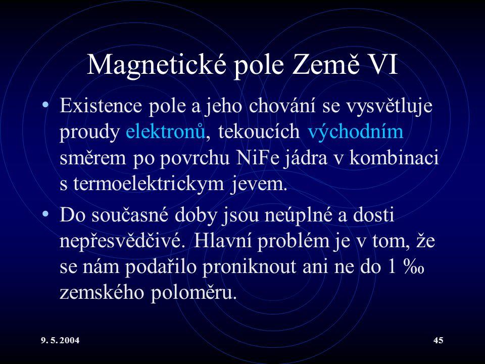 9. 5. 200445 Magnetické pole Země VI Existence pole a jeho chování se vysvětluje proudy elektronů, tekoucích východním směrem po povrchu NiFe jádra v