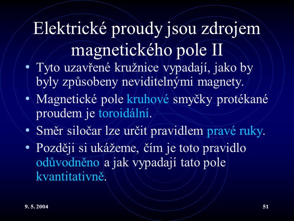 9. 5. 200451 Elektrické proudy jsou zdrojem magnetického pole II Tyto uzavřené kružnice vypadají, jako by byly způsobeny neviditelnými magnety. Magnet