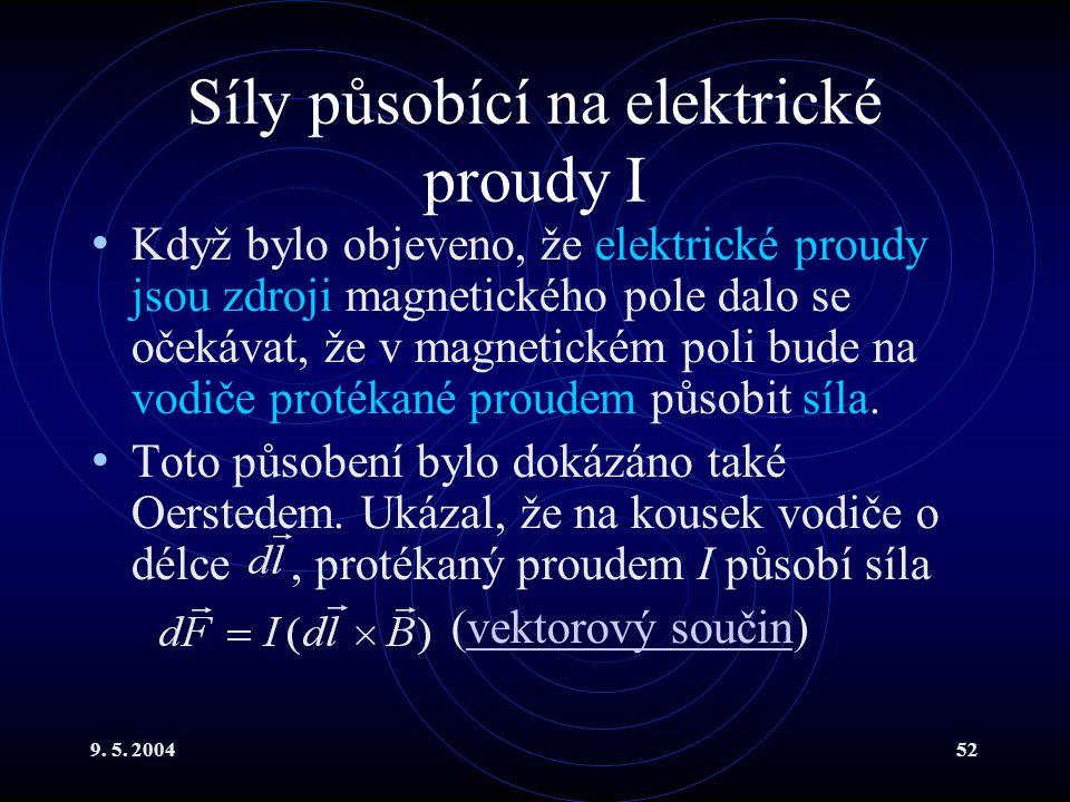 9. 5. 200452 Síly působící na elektrické proudy I Když bylo objeveno, že elektrické proudy jsou zdroji magnetického pole dalo se očekávat, že v magnet