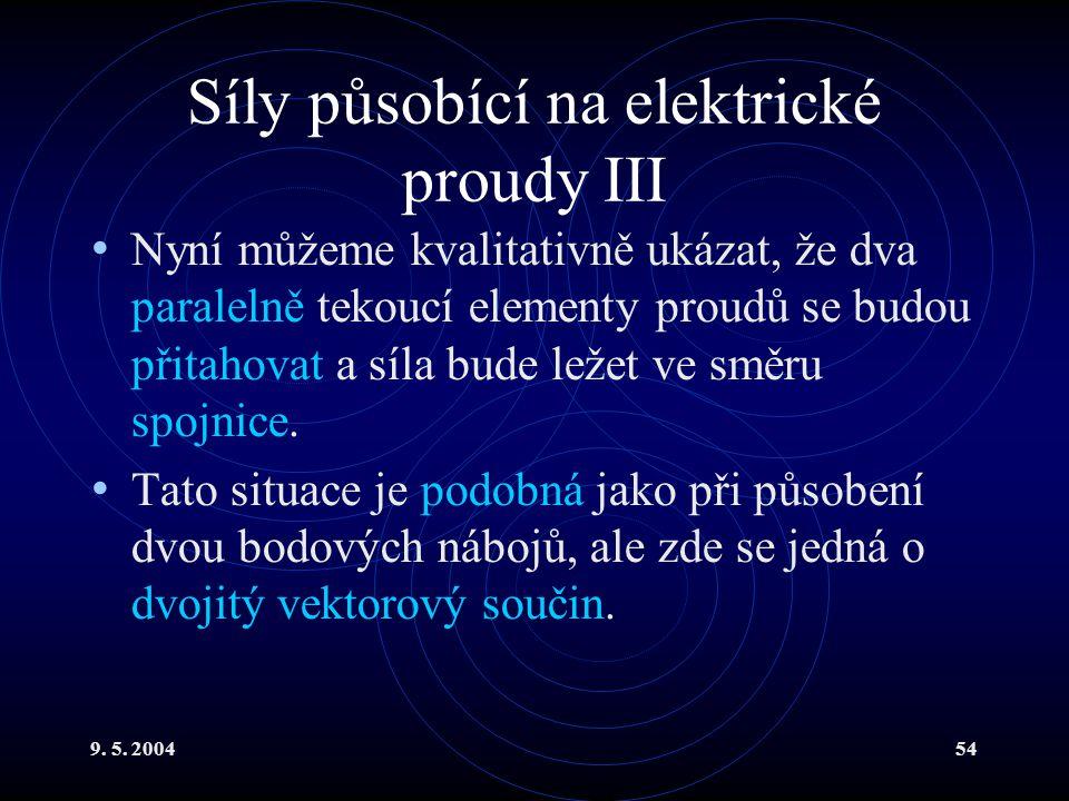 9. 5. 200454 Síly působící na elektrické proudy III Nyní můžeme kvalitativně ukázat, že dva paralelně tekoucí elementy proudů se budou přitahovat a sí