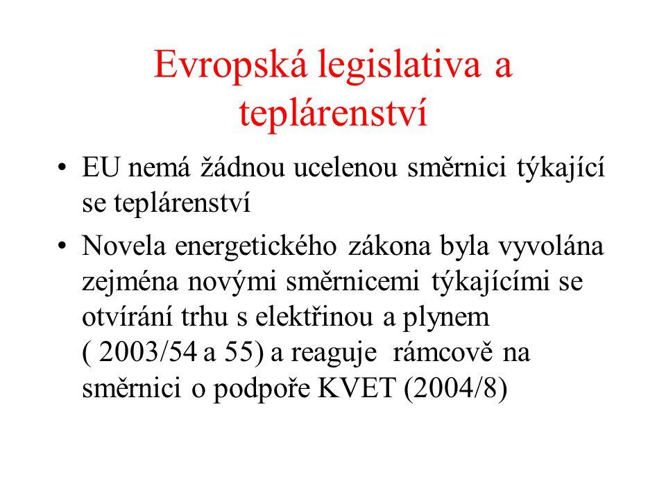 Evropská legislativa a teplárenství EU nemá žádnou ucelenou směrnici týkající se teplárenství Novela energetického zákona byla vyvolána zejména novými směrnicemi týkajícími se otvírání trhu s elektřinou a plynem ( 2003/54 a 55) a reaguje rámcově na směrnici o podpoře KVET (2004/8)