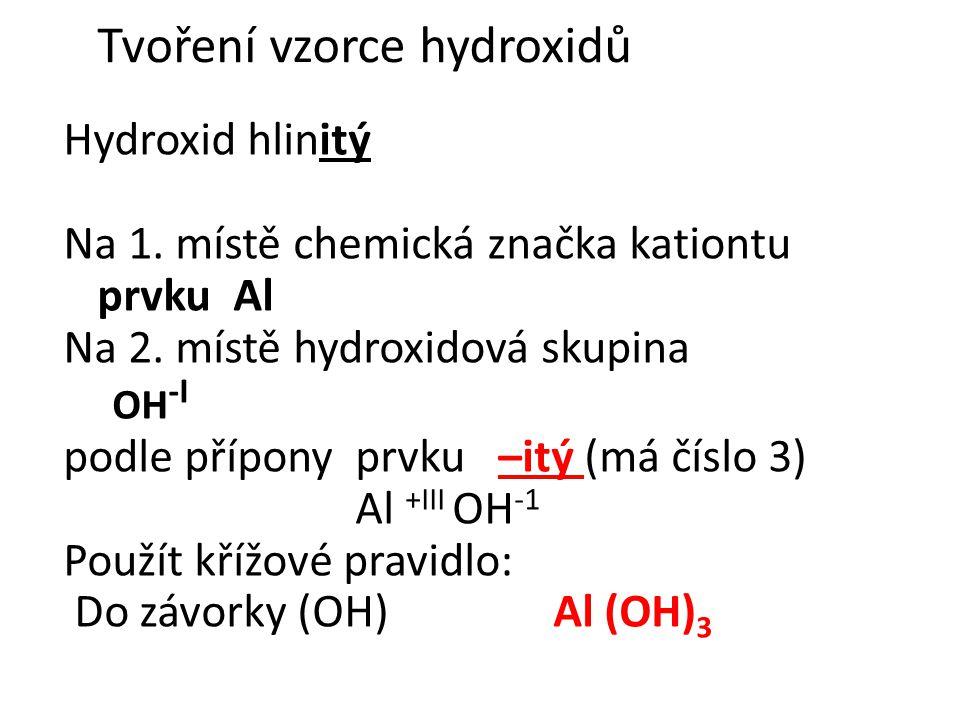 Hydroxid železnatý Fe (OH) 2 -I 1.železo s oxidačním číslem +II = -natý 2.