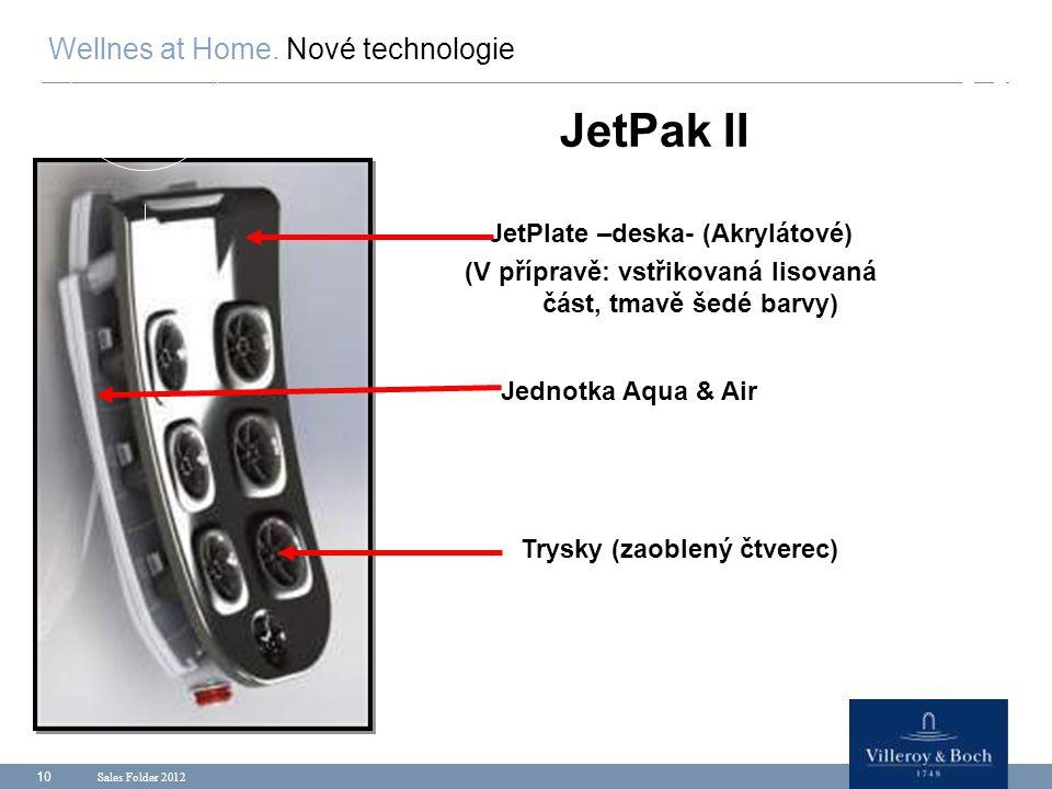 Sales Folder 2012 10 JetPak II Wellnes at Home. Nové technologie Jednotka Aqua & Air JetPlate –deska- (Akrylátové) (V přípravě: vstřikovaná lisovaná č