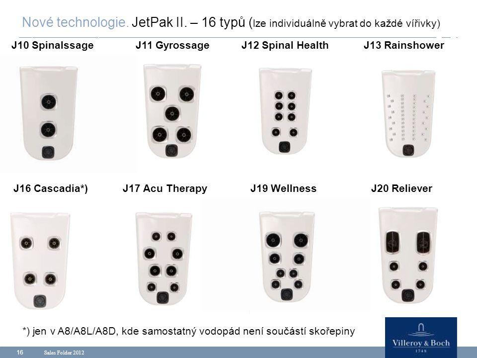Sales Folder 2012 16 Nové technologie. JetPak II. – 16 typů ( lze individuálně vybrat do každé vířivky) J10 SpinalssageJ12 Spinal HealthJ11 GyrossageJ