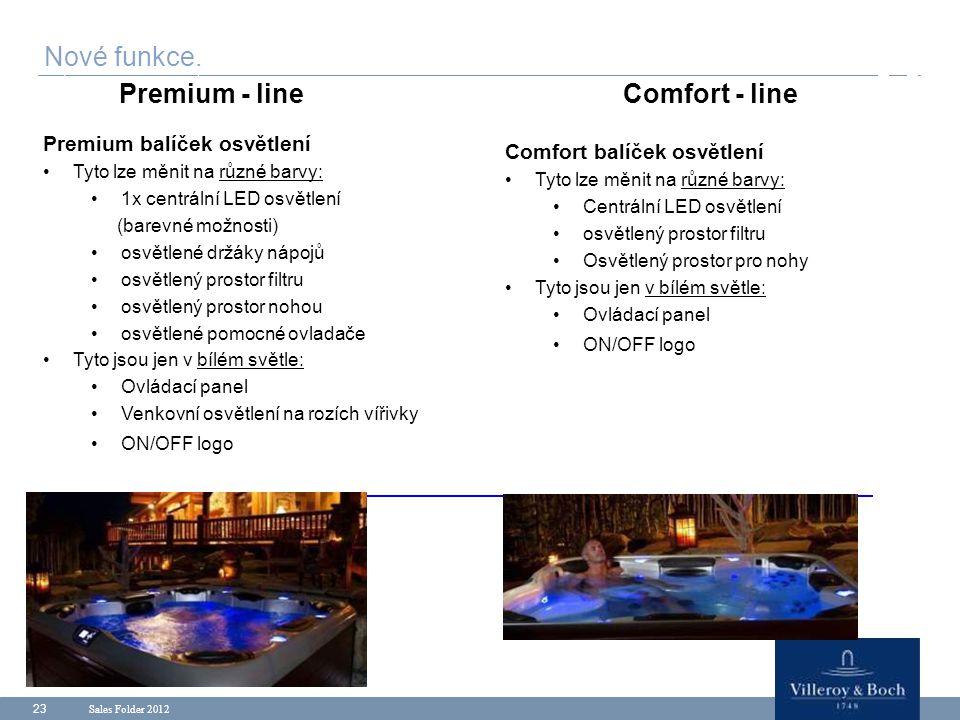 Sales Folder 2012 23 Premium balíček osvětlení Tyto lze měnit na různé barvy: 1x centrální LED osvětlení (barevné možnosti) osvětlené držáky nápojů os