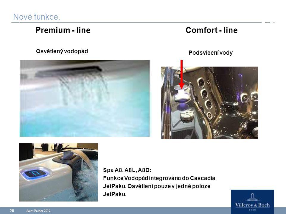 Sales Folder 2012 26 Nové funkce. Premium - lineComfort - line Osvětlený vodopád Podsvícení vody Spa A8, A8L, A8D: Funkce Vodopád integrována do Casca