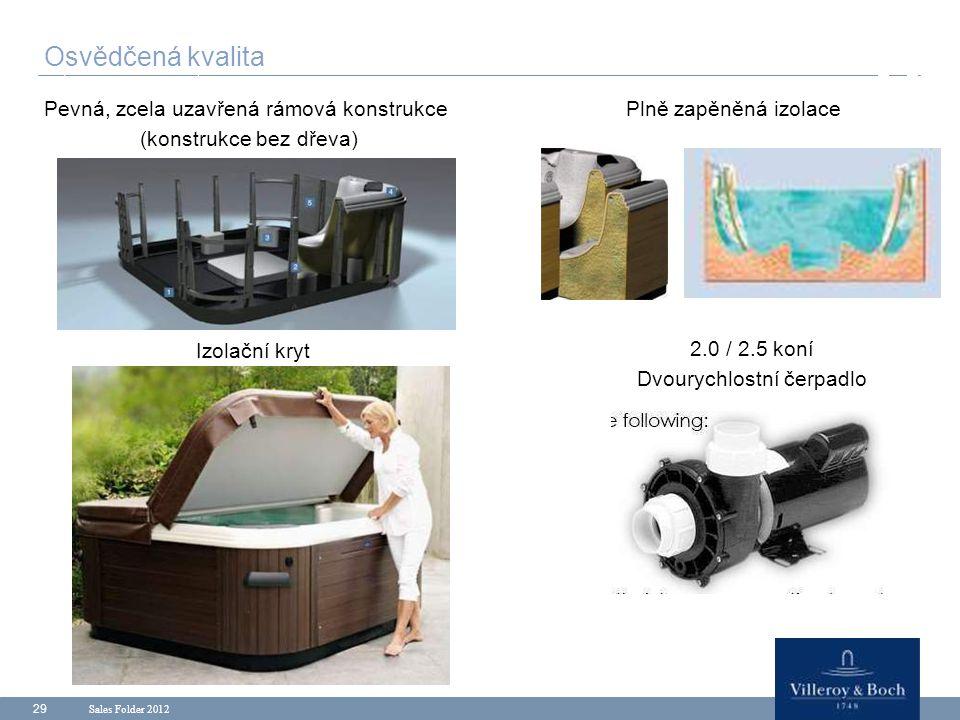 Sales Folder 2012 29 Pevná, zcela uzavřená rámová konstrukce (konstrukce bez dřeva) Osvědčená kvalita Plně zapěněná izolace Izolační kryt 2.0 / 2.5 ko