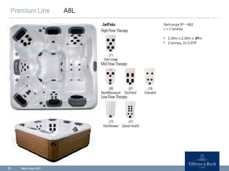 Sales Folder 2012 35 Premium Line A8L Nahrazuje SP – 662 L = 1 lehátko 2.39m x 2.39m x.97m 2 pumpy, 2x 2,0HP