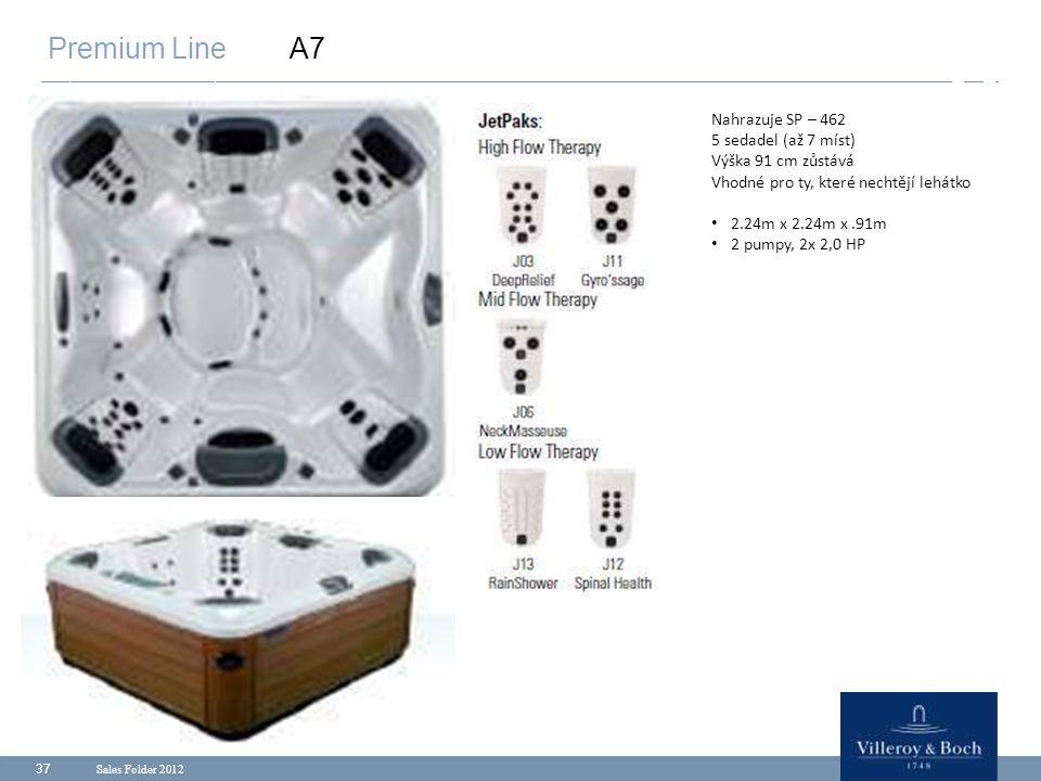 Sales Folder 2012 37 Premium Line A7 Nahrazuje SP – 462 5 sedadel (až 7 míst) Výška 91 cm zůstává Vhodné pro ty, které nechtějí lehátko 2.24m x 2.24m