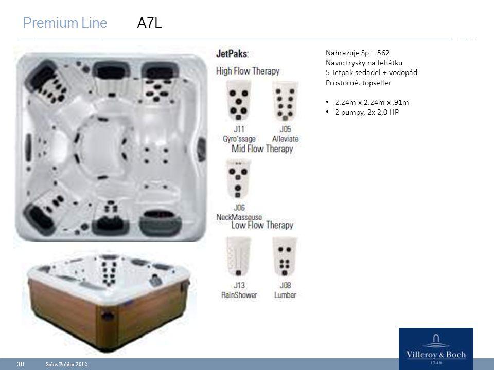Sales Folder 2012 38 Premium Line A7L Nahrazuje Sp – 562 Navíc trysky na lehátku 5 Jetpak sedadel + vodopád Prostorné, topseller 2.24m x 2.24m x.91m 2