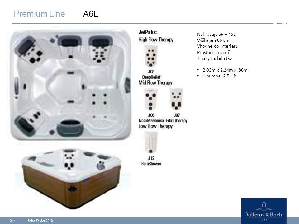 Sales Folder 2012 39 Premium Line A6L Nahrazuje SP – 451 Výška jen 86 cm Vhodné do interiéru Prostorné uvnitř Trysky na lehátko 2.03m x 2.24m x.86m 1