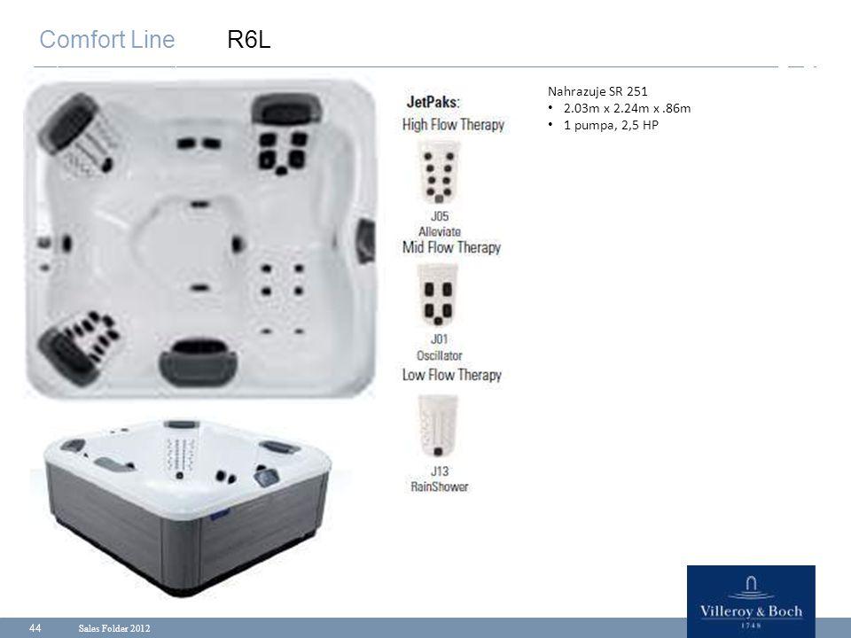 Sales Folder 2012 44 Comfort Line R6L Nahrazuje SR 251 2.03m x 2.24m x.86m 1 pumpa, 2,5 HP