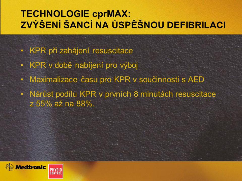 TECHNOLOGIE cprMAX: ZVÝŠENÍ ŠANCÍ NA ÚSPĚŠNOU DEFIBRILACI KPR při zahájení resuscitace KPR v době nabíjení pro výboj Maximalizace času pro KPR v součinnosti s AED Nárůst podílu KPR v prvních 8 minutách resuscitace z 55% až na 88%.