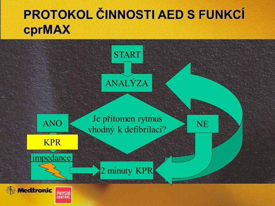 PROTOKOL ČINNOSTI AED S FUNKCÍ cprMAX Je přítomen rytmus vhodný k defibrilaci.
