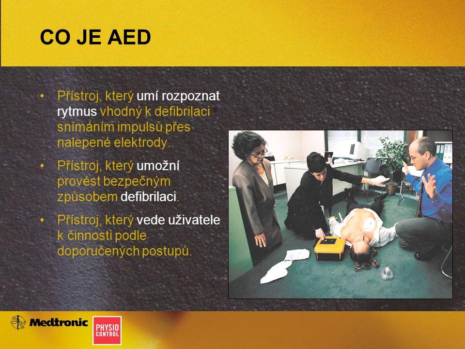 CO JE AED Přístroj, který umí rozpoznat rytmus vhodný k defibrilaci snímáním impulsů přes nalepené elektrody. Přístroj, který umožní provést bezpečným