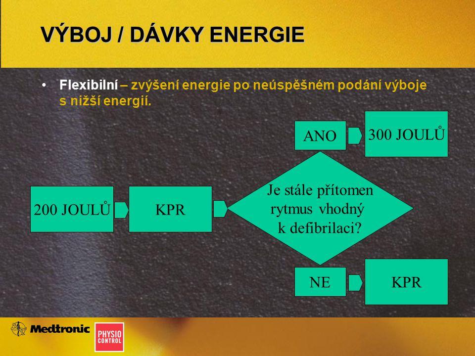VÝBOJ / DÁVKY ENERGIE Flexibilní – zvýšení energie po neúspěšném podání výboje s nižší energií.