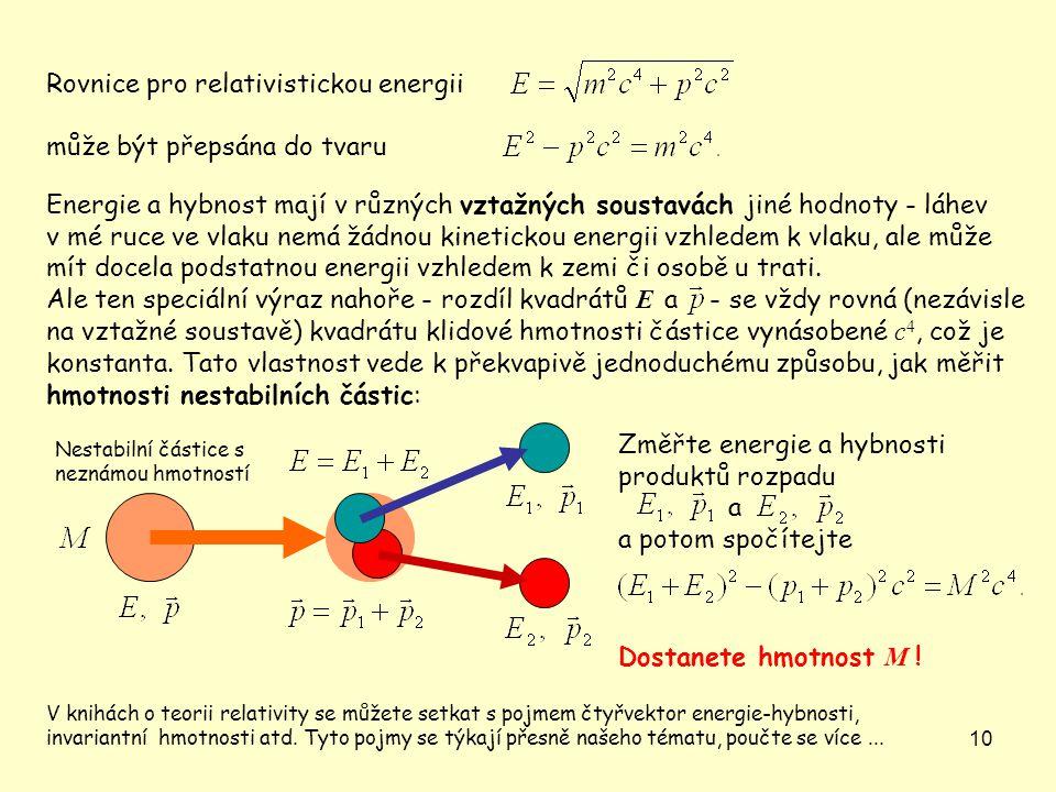 10 Nestabilní částice s neznámou hmotností Rovnice pro relativistickou energii může být přepsána do tvaru Energie a hybnost mají v různých vztažných s