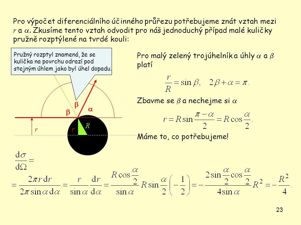 23  r Pro výpočet diferenciálního účinného průřezu potřebujeme znát vztah mezi r a  Zkusíme tento vztah odvodit pro náš jednoduchý případ malé kul