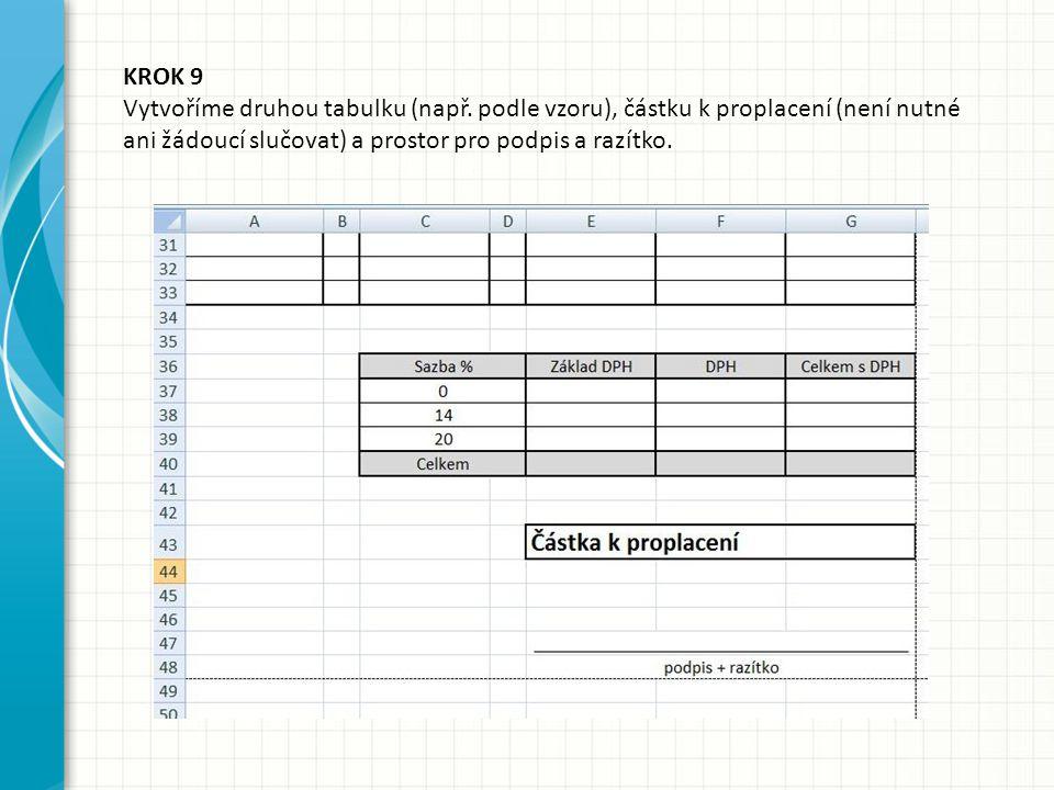 KROK 9 Vytvoříme druhou tabulku (např. podle vzoru), částku k proplacení (není nutné ani žádoucí slučovat) a prostor pro podpis a razítko.