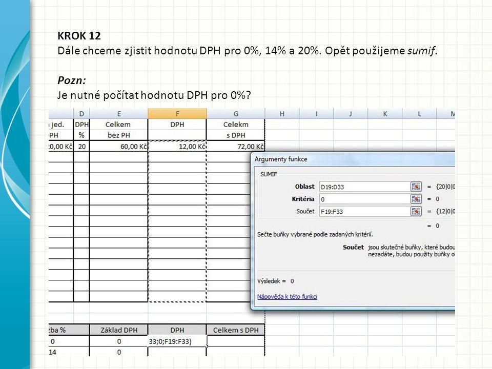 KROK 12 Dále chceme zjistit hodnotu DPH pro 0%, 14% a 20%. Opět použijeme sumif. Pozn: Je nutné počítat hodnotu DPH pro 0%?