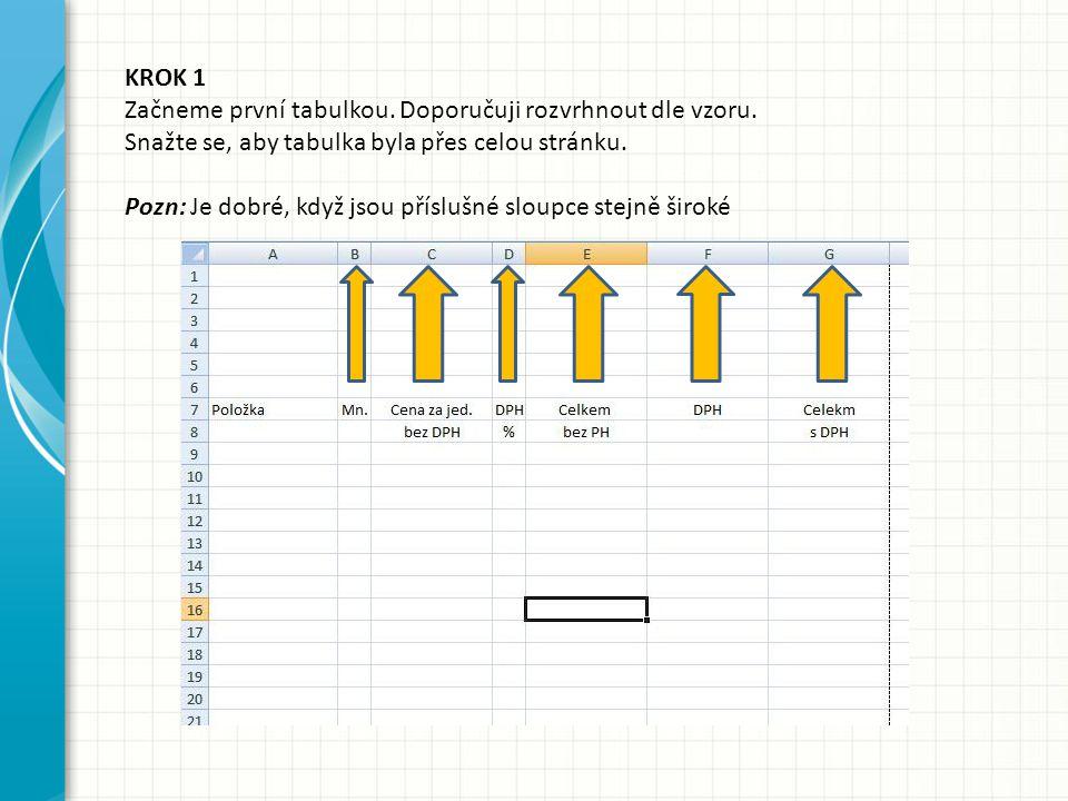 KROK 1 Začneme první tabulkou. Doporučuji rozvrhnout dle vzoru. Snažte se, aby tabulka byla přes celou stránku. Pozn: Je dobré, když jsou příslušné sl