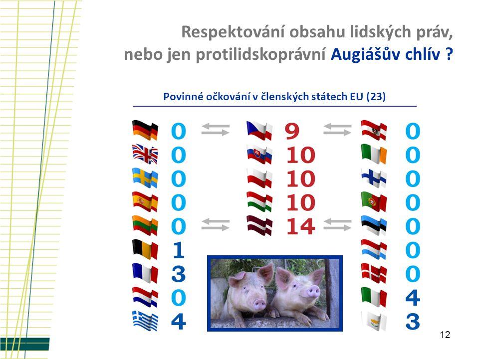 12 Respektování obsahu lidských práv, nebo jen protilidskoprávní Augiášův chlív ? Povinné očkování v členských státech EU (23)