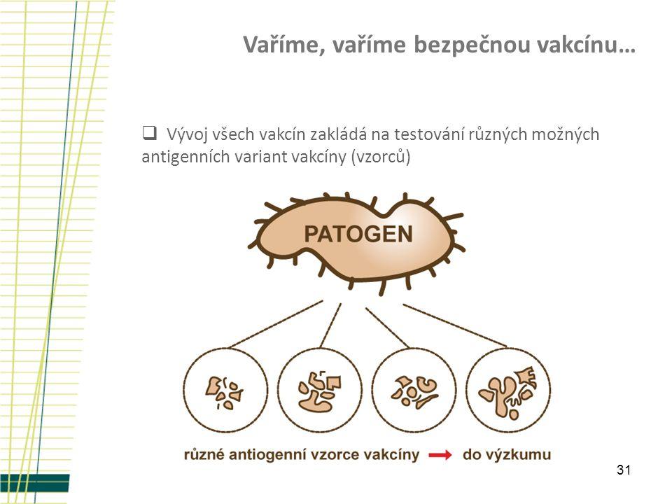 31 Vaříme, vaříme bezpečnou vakcínu…  Vývoj všech vakcín zakládá na testování různých možných antigenních variant vakcíny (vzorců)