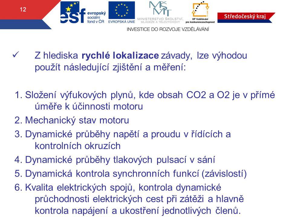 12 Z hlediska rychlé lokalizace závady, lze výhodou použít následující zjištění a měření: 1. Složení výfukových plynů, kde obsah CO2 a O2 je v přímé ú